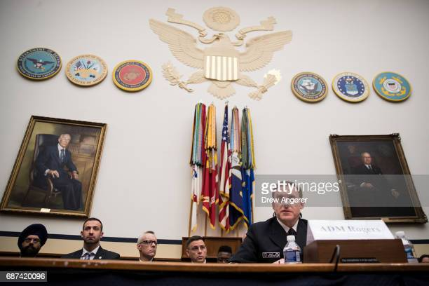 Admiral Michael Rogers Director of the National Security Agency and commander of US Cyber Command testifies during a House Armed Services Committee...