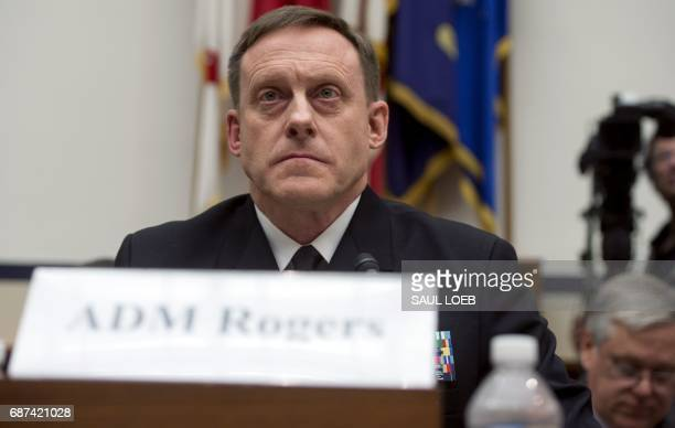 Admiral Mike Rogers Director of the National Security Agency testifies about the Fiscal Year 2018 budget request for US Cyber Command during a House...