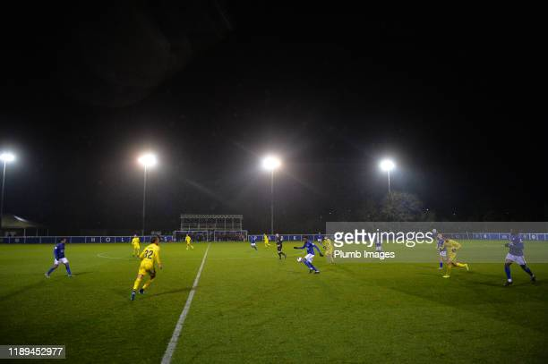 Admiral Muskwe of Leicester City during the Leicester City U23 v Villarreal B PL International Cup at Holmes Park on December 18th 2019 in Leicester...