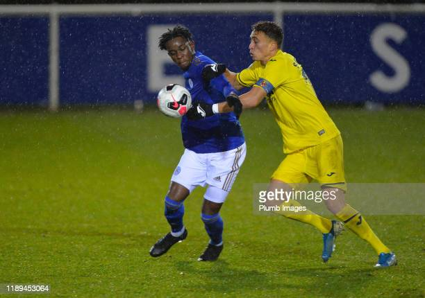 Admiral Muskwe of Leicester City with Sofian Chakla of Villarreal during the Leicester City U23 v Villarreal B PL International Cup at Holmes Park on...