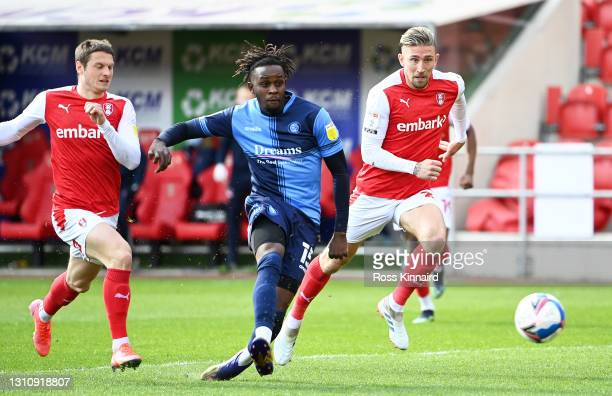 Admiral Muskwe of Wycombe Wanderers scores their team's first goal during the Sky Bet Championship match between Rotherham United and Wycombe...