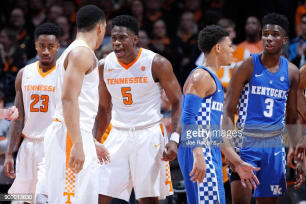 Admiral Schofield and Grant Williams of the Tennessee Volunteers react in the second half of a game against the Kentucky Wildcats at ThompsonBoling...