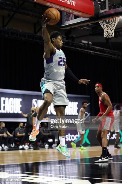 Admiral Schofield of the Greensboro Swarm saves the loose ball against the Rio Grande Valley Vipers on February 23, 2021 at HP Field House in...