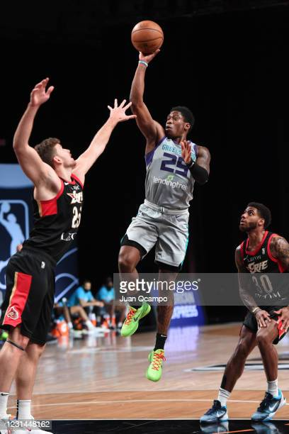 Admiral Schofield of the Greensboro Swarm shoots the ball against the Erie BayHawks on February 28, 2021 at AdventHealth Arena in Orlando, Florida....