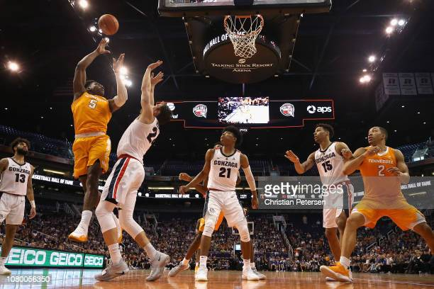 Admiral Schofield of the Tennessee Volunteers attempts a shot over Corey Kispert of the Gonzaga Bulldogs during the second half of the game at...