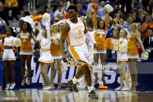 Admiral Schofield of the Tennessee Volunteers celebrates after defeating the Iowa Hawkeyes 8377 in the Second Round of the NCAA Basketball Tournament...
