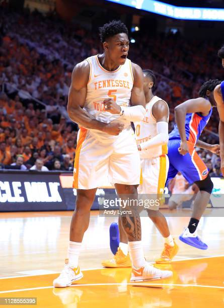 Admiral Schofield of the Tennessee Volunteers celebrates against the Florida Gators at ThompsonBoling Arena on February 09 2019 in Knoxville Tennessee