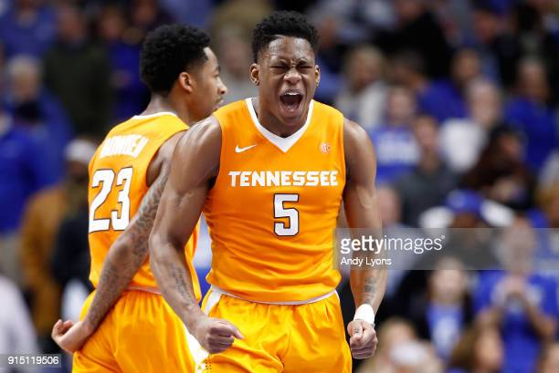Admiral Schofield of the Tennessee Volunteers celebrates during the 6159 win against the Kentucky Wildcats in the game at Rupp Arena on February 6...