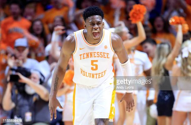 Admiral Schofield of the Tennessee Volunteers celebrates in the game against the Kentucky Wildcats at ThompsonBoling Arena on March 02 2019 in...