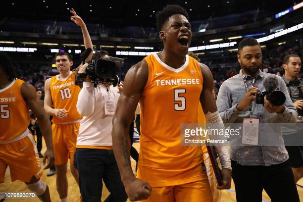 Admiral Schofield of the Tennessee Volunteers celebrates on the court after defeating the Gonzaga Bulldogs in the game at Talking Stick Resort Arena...