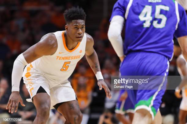 Admiral Schofield of the Tennessee Volunteers defends during the second half of the game against the Texas AMCorpus Christi Islanders at...