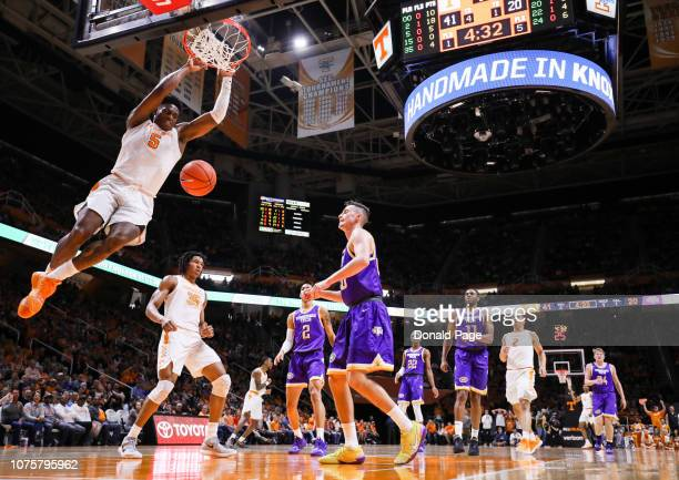 Admiral Schofield of the Tennessee Volunteers dunks the ball during the game between the Tennessee Tech Golden Eagles and the Tennessee Volunteers at...
