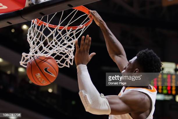 Admiral Schofield of the Tennessee Volunteers dunks the ball during the second half of the game between the Samford Bulldogs and the Tennessee...