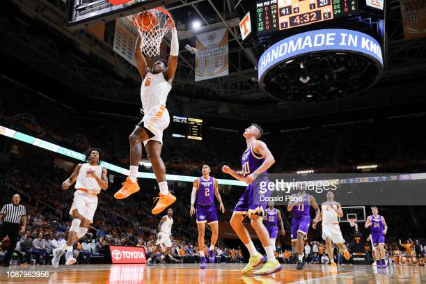 Admiral Schofield of the Tennessee Volunteers dunks the ball during the game against the Tennessee Tech Golden Eagles at ThompsonBoling Arena on...