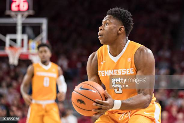 Admiral Schofield of the Tennessee Volunteers looks to make a shot during a game against the Arkansas Razorbacks at Bud Walton Arena on December 30...