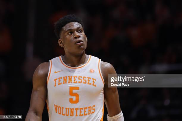 Admiral Schofield of the Tennessee Volunteers looks up at the end of the game against the Alabama Crimson Tide at ThompsonBoling Arena on January 19...