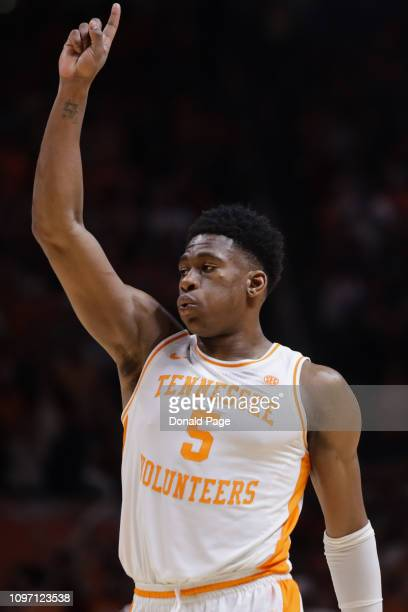 Admiral Schofield of the Tennessee Volunteers puts one finger in the air as he celebrates the win at the end of the game against the Alabama Crimson...