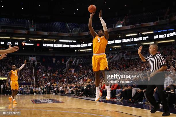 Admiral Schofield of the Tennessee Volunteers puts up a threepoint shot against the Gonzaga Bulldogs during the second half of the game at Talking...