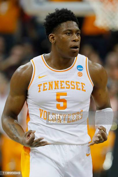 Admiral Schofield of the Tennessee Volunteers reacts after a three pointer against the Purdue Boilermakers during overtime of the 2019 NCAA Men's...
