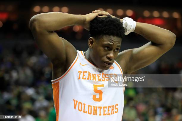 Admiral Schofield of the Tennessee Volunteers reacts after losing to the Purdue Boilermakers in overtime of the 2019 NCAA Men's Basketball Tournament...