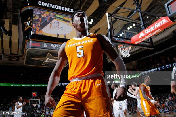 Admiral Schofield of the Tennessee Volunteers reacts in overtime against the Vanderbilt Commodores during the game at Memorial Gym on January 23 2019...