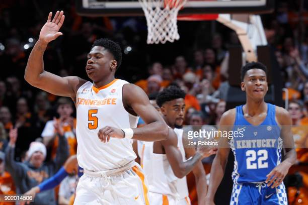 Admiral Schofield of the Tennessee Volunteers reacts in the second half of a game against the Kentucky Wildcats at ThompsonBoling Arena on January 6...
