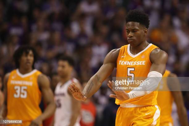 Admiral Schofield of the Tennessee Volunteers reacts on the court after scoring against the Gonzaga Bulldogs during the second half of the game at...