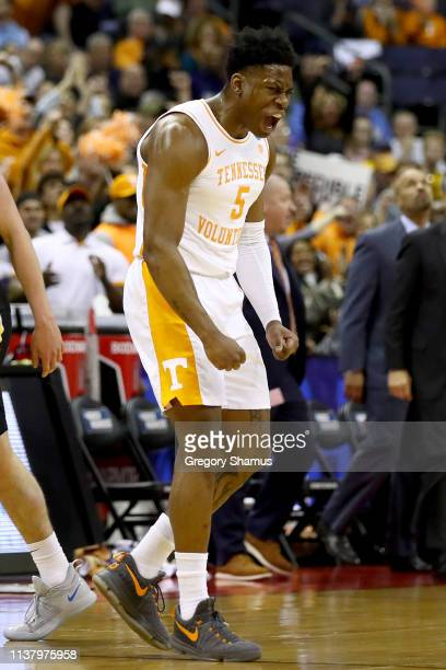 Admiral Schofield of the Tennessee Volunteers reacts to a play against the Iowa Hawkeyes during their game in the Second Round of the NCAA Basketball...