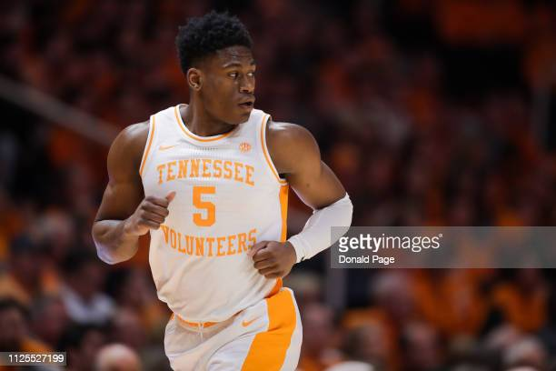 Admiral Schofield of the Tennessee Volunteers runs down the court during the first half of the game between the West Virginia Mountaineers and the...