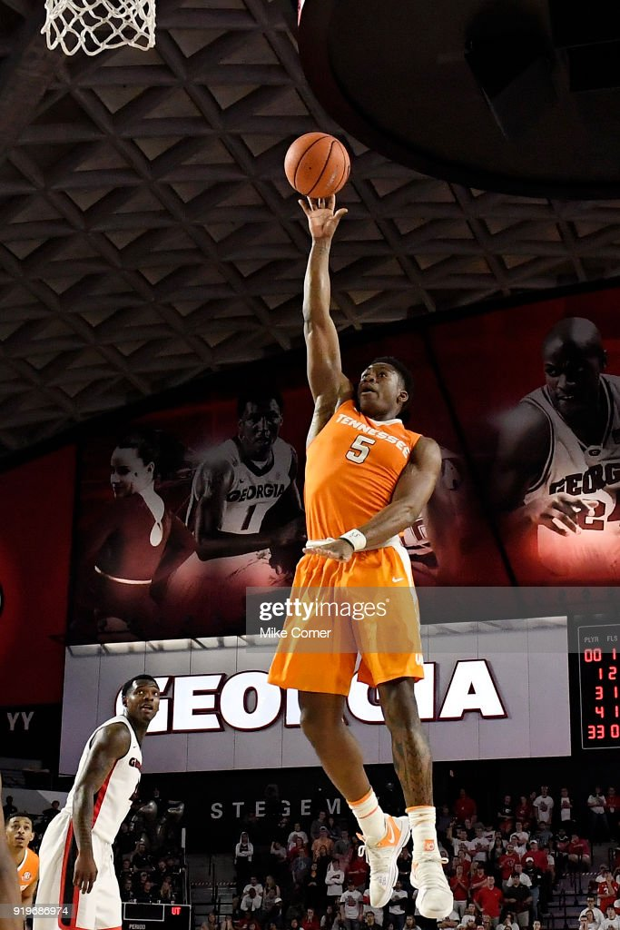 Admiral Schofield #5 of the Tennessee Volunteers shoots a running jump shot in the lane during the Volunteers' basketball game against the Georgia Bulldogs at Stegeman Coliseum on February 17, 2018 in Athens, Georgia.