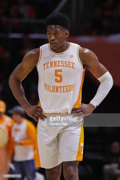 Admiral Schofield of the Tennessee Volunteers with his hands on his hips during the game between the Arkansas Razorbacks and the Tennessee Volunteers...