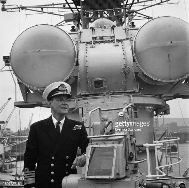 Admiral Sir Charles Madden of the Royal Navy, Commander-in-Chief of the Home Fleet and NATO's Allied Commander-in-Chief Eastern Atlantic, on board...