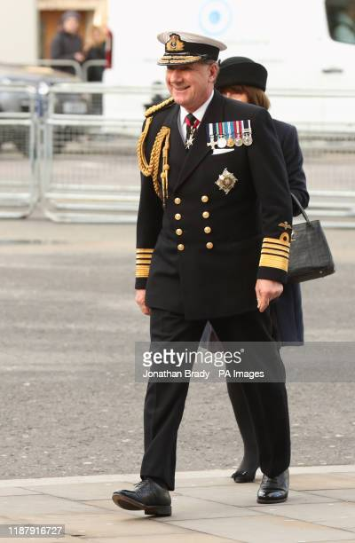 Admiral Sir George Michael Zambellas arriving for a service of thanksgiving for the life and work of Sir Donald Gosling at Westminster Abbey in London