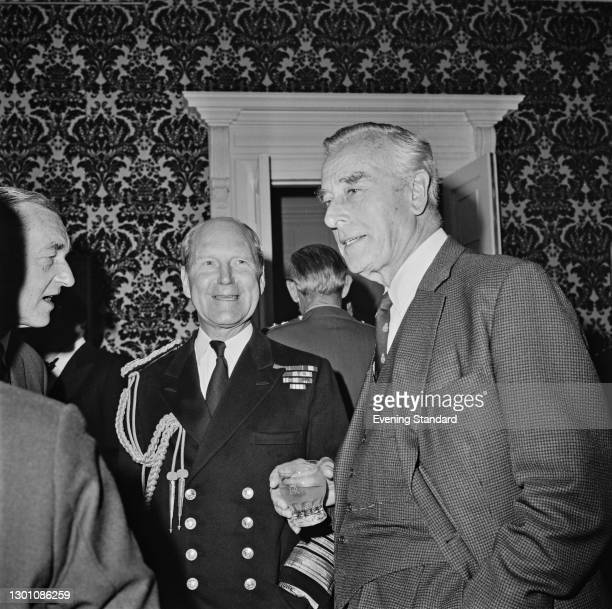 Admiral Sir Michael Pollock , the First Sea Lord, with Earl Mountbatten of Burma at an event celebrating the 50th anniversary of the Chiefs of Staff...
