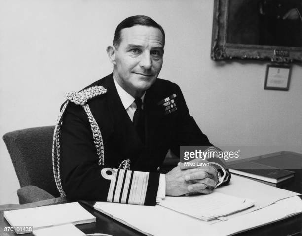 Admiral Sir Peter HillNorton the new Chief of the Naval Staff and First Sea Lord in his office at the Ministry of Defence in London 14th August 1970