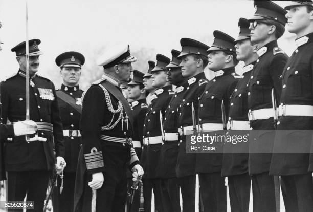 Admiral Sir Varyl Begg of the Royal Navy inspects the Sovereign's Parade at Sandhurst Royal Military Academy UK 14th December 1967 Begg is the Chief...