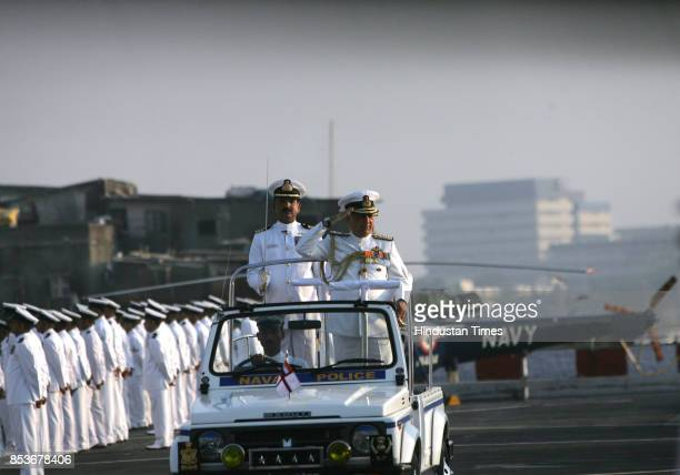 Admiral Suresh Mehta Chief of Naval Staff inspects the ceremonial parade during 3 days visit to Mumbai on Thursday