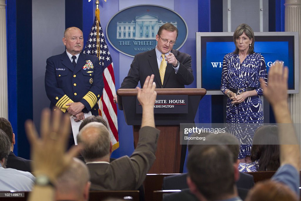 Admiral Thad Allen, U.S. Coast Guard National Incident Commander, left, Robert Gibbs, White House press secretary, and Carol Browner, the White House adviser on energy and climate change, take questions from the media in the briefing room of the White House in Washington, D.C., U.S., on Wednesday, June 16, 2010. President Barack Obama said BP will put $20 billion into an oil spill compensation fund that will be independently administered by lawyer Kenneth Feinberg. Photographer: Andrew Harrer/Bloomberg via Getty Images