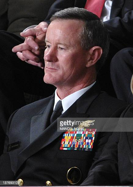 Admiral William McRaven commander of the Joint Special Operations Command listens as US President Barack Obama delivers his State of the Union...