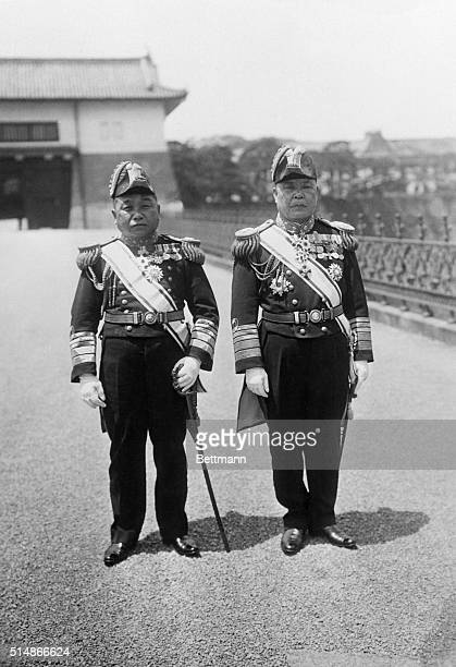 Admirals Yeisuke Yamamoto and M Osumi of the Imperial Japanese Navy
