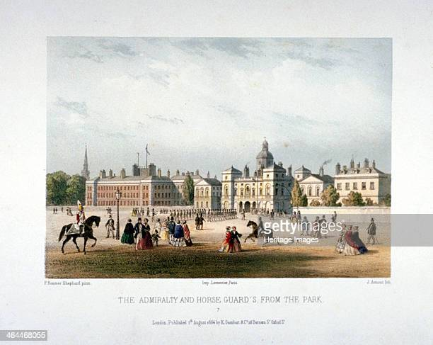 Admiralty and Horse Guards Whitehall Westminster London 1854 View of the Admiralty on the left and Horse Gurads to the right with figures including a...