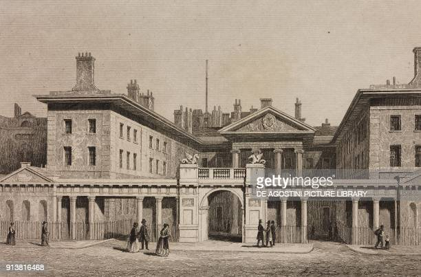 Admiralty Palace London England United Kingdom engraving by Lemaitre from Angleterre Ecosse et Irlande Volume IV by Leon Galibert and Clement Pelle...