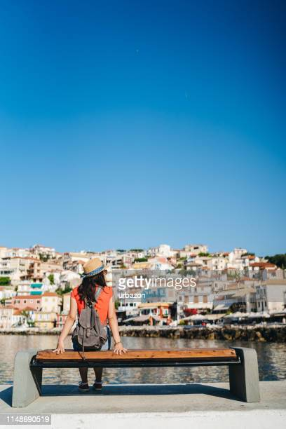 admiring coastal town architecture - epirus greece stock pictures, royalty-free photos & images