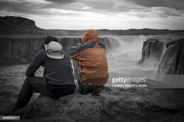 admiring selfoss waterfall, iceland - selfoss stock photos and pictures