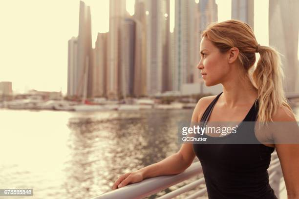 Admiring Sunrise near Dubai Marina after the fitness class