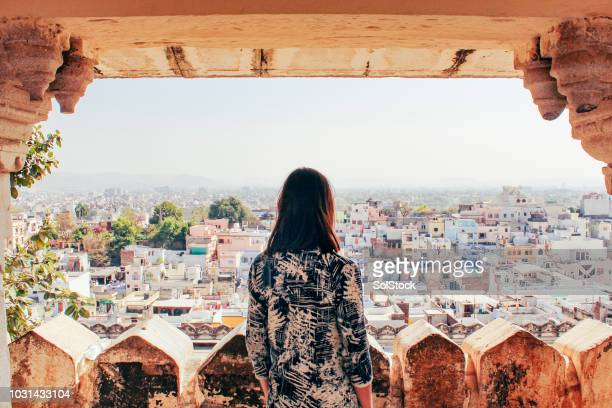 admiring the city of udaipur - travel foto e immagini stock