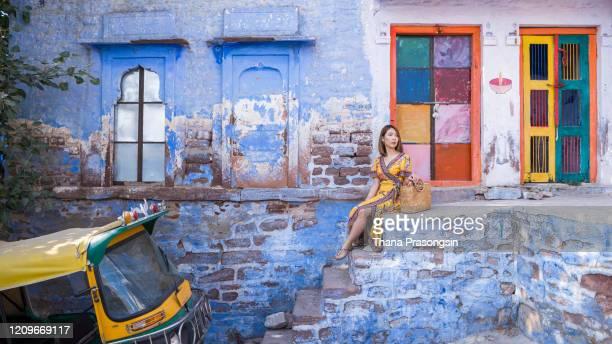 admiring the city of udaipur - forntida bildbanksfoton och bilder