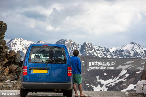 Admiring the views of this mountain pass.