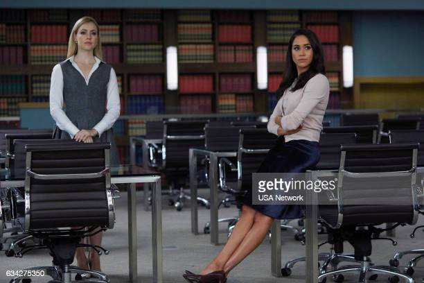 SUITS 'Admission of Guilt' Episode 614 Pictured Amanda Schull as Katrina Bennett Meghan Markle as Rachel Zane