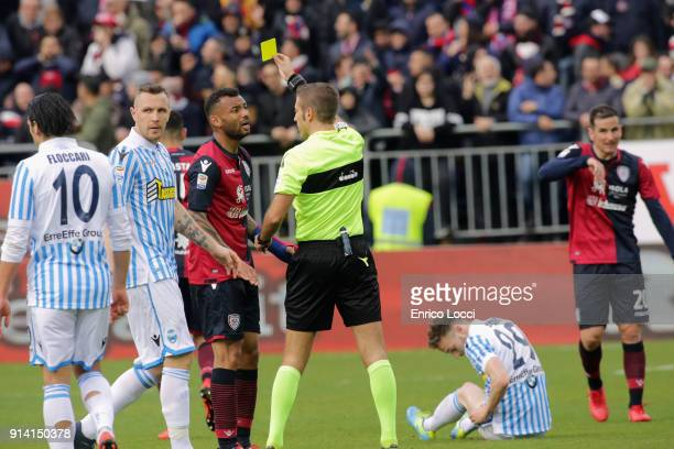 admonition of Joao Pedro during the serie A match between Cagliari Calcio and Spal at Stadio Sant'Elia on February 4 2018 in Cagliari Italy